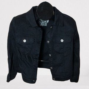 ONE WORLD Jackets & Coats - ONE WORLD Black Twill Denim Style Cropped Jacket M